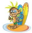 monkey surfer cartoon vector image