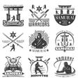monochrome samurai emblems set vector image vector image