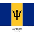 national flag of barbados with correct proportions
