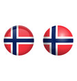 norway flag under 3d dome button and on glossy vector image vector image