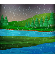 river scene on rainy day vector image vector image