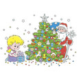 santa and a girl with a christmas gift vector image