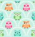 seamless cute owls cartoon character background vector image