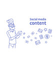 senior man hipster using cell smart phone social vector image vector image