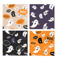 set of halloween seamless pattern set for poster vector image vector image