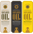 set of labels for refined sunflower oil vector image