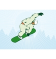 Snowboarding on Air Green Snowboard vector image vector image