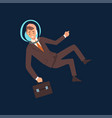 successful businessman in brown suit and astronaut vector image vector image