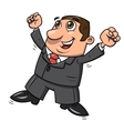 Successful happy businessman jumping 2 vector image vector image