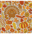 thanksgiving day seamless pattern various vector image vector image