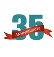 Thirty Five 35 Years Anniversary Label Sign for vector image