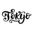 tokyo city hand written brush lettering vector image