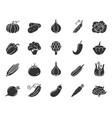 vegetable food black silhouette icons set vector image