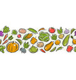 vegetables seamless background pattern cartoon vector image vector image