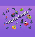 video game isometric flowchart vector image vector image