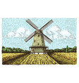 Windmill landscape in vintage retro hand drawn or