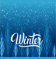 winter calligraphy over shilhouette forest blue vector image