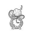 witch hat and clock halloween doodles isolated vector image vector image