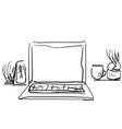 workplace with laptop notebook tablet interior vector image