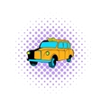 Yellow taxi icon comics style vector image vector image