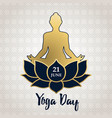 yoga day card gold people in lotus pose vector image vector image