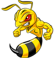 Cartoon angry bee mascot isolated vector image vector image