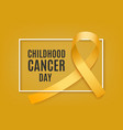 childhood cancer day banner with yellow curly vector image vector image