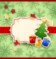 christmas background with label tree and gifts vector image vector image