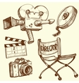 Cinema and photography vintage set vector image vector image