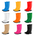 colored rubber boots set vector image