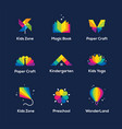 colorful icons set on dark blue background vector image