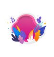 colorful leaves on white and magenta background vector image vector image