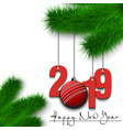 cricket ball and 2019 on a christmas tree branch vector image