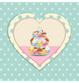 cupcake stand and polka dot heart vector image vector image