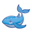 cute whale tropical sea animal vector image
