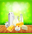 Dairy products on wooden table green grass vector image