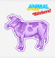 farm animal cow in sketch style on colorful vector image vector image