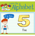 Flashcard letter F is for five vector image vector image
