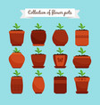 flowerpots with soil and sprouts vector image vector image