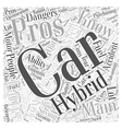 hybrid car pro and cons Word Cloud Concept vector image vector image