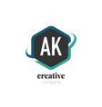initial letter ak creative hexagonal design logo