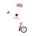 isolated bride on a bicycle marriage concept vector image