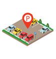 isometric cars in the car parking city parking vector image vector image