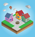 Isometric Colorful Houses on a Street vector image