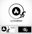 Letter A floral logo black and white vector image vector image