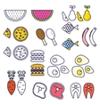 Line style food icons vector image