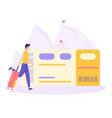 man suitcase ticket mountain flat concept vector image