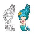 mermaid with starfish cute cartoon character vector image