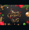 merry christmas and happy new year inscription vector image