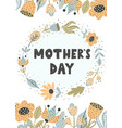 mothera s day greeting card with trendy flowers vector image